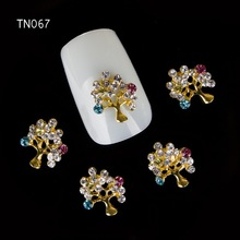10pc Glitter Golden Tree Rhinestones flower 3d Nail Art Decorations,Alloy Nail Sticker Charms Jewelry for Nail Polish Tool TN067(China)