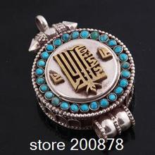 T9175 Tibetan 925 sterling silver Prayer Box Locket Pendant 45*28mm Nepal Tibet GAU Kalachakra Amulet Pendant,Free shipping(China)