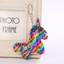 Cute Shiny Unicorn Horn Keychain Fashion Mermaid Sequins Animal Horse Key  Chain Keyrings for Women Car Bag Pendant Jewelry Clef be593aa09f29