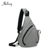 Aelicy USB Design Chest Bag Men&Female Sling Bag Wallet Large Capacity Handbag Canvas Multi-Function Shopping Crossbody Bag(China)