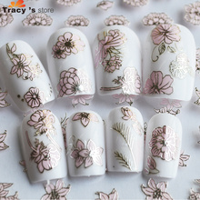 12 designs in one 3d Nail Sticker NEW Silver Pink Flower Lotus Decals DIY Beauty Charm Women Nail Art Decoration TRTJ013-024