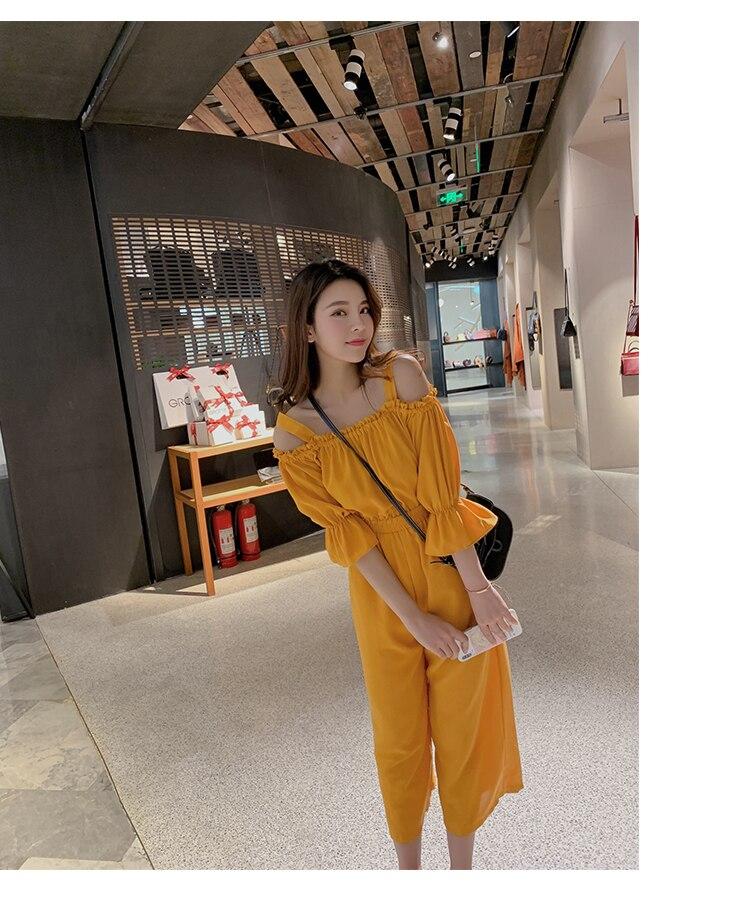 Women's Clothing 2019 Summer New Sexy Bohemian Style Spaghetti Strap Helf Sleeve High Waist Sling Long Beach Wide Leg Jumpsuit 18 Online shopping Bangladesh