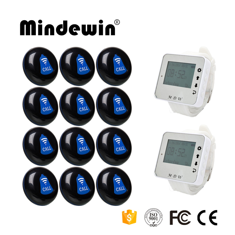 Mindewin Restaurant Server Paging System 2PCS Wrist Watch Pager M-W-1 and 12PCS Table Call Button M-K-1 Wireless Calling System(China (Mainland))