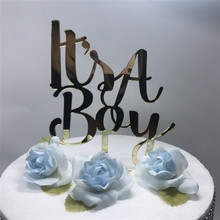 It is a Boy/Girl Cake Topper Little Man Baby Shower Birthday Party Kids Baby Gender Reveal Acrylic Silhouette Cake Topper(China)