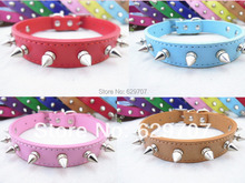 Pu Leather Dog Collar Personalized Spiked Pet Products For Small Dogs Pink Red Blue Brown Color(China)