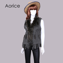 Aorice women genuine natural real rabbit vests coats Rex rabbit fur with raccoon fur collar winter waistcoat/jackets vr001(China)