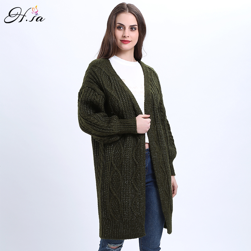 H.SA 2017 Women Long Cardigans Autumn Winter Open Stitch Poncho Knitting Sweater Cardigans V neck Oversized Cardigan Jacket Coat 22
