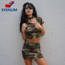 EVENLIM Camouflage Women's set short top and skirt lady mini shirt pencil skirts girl summer clothing party club set DRS1763L