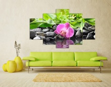 Frame 5 Panels Modern Canvas Prints Artwork Green Stone Pink Flower Pictures Canvas Wall Art Picture Home Decoration ht42(China)