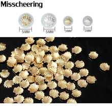 50pcs/pack Gold Silver 3d Metal Sea Shell Beads Design Nail Art Rhinestone Studs Spike Nail Tips Stickers Accessories Decoration