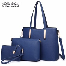 Miss Lulu 3 Pieces Women Designer Shoulder Handbag + Cross Body Satchel Bag + Purse PU Leather Top-handle Tote Navy LT6648(China)