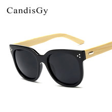 Brand Designer Wood Sunglasses Women Men Big Bamboo Frame Rivet Cat Eye Sun Glasses Male Female Hand Made Shop Online wood(China)