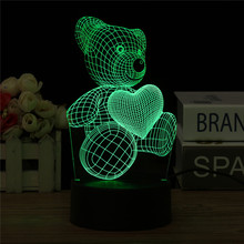 KiWarm Fashion 3D Little Bear Love Heart LED Night Light 7 Color Change Touch Switch Desk Lamp Home Ornament Craft(China)
