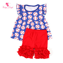 2017 Girls Clothing Set Summer Girls Baseball Shirt Red Shorts Ruffle Suit 4th Of July Patriotic 1-8T Wholesale Girl Clothes