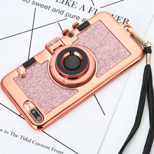 Luxury 3D Retro Camera Phone Cases For iphone 7 6 6s Plus Case Fashion Plating Soft Back Cover Long Strap Rope With Stand Holder(China)