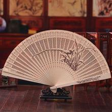 Wooden Folding Engraving Handfans Hollow Sandalwood Fans Women's Stage Show Photography Accessories H136