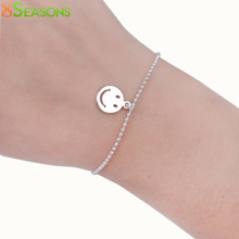"8SEASONS Copper Bracelets Silver Plated Emoji Smile Fashion Woman Jewelry 16.5cm(6 4/8"") long, 1 Piece"