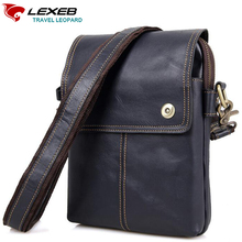 Lexeb Genuine Leather Men Shoulder Bag Craze Horse Messenger Bags Crossbody Mini Ipad High Quality Brown Cowhide Small Flaps(China)