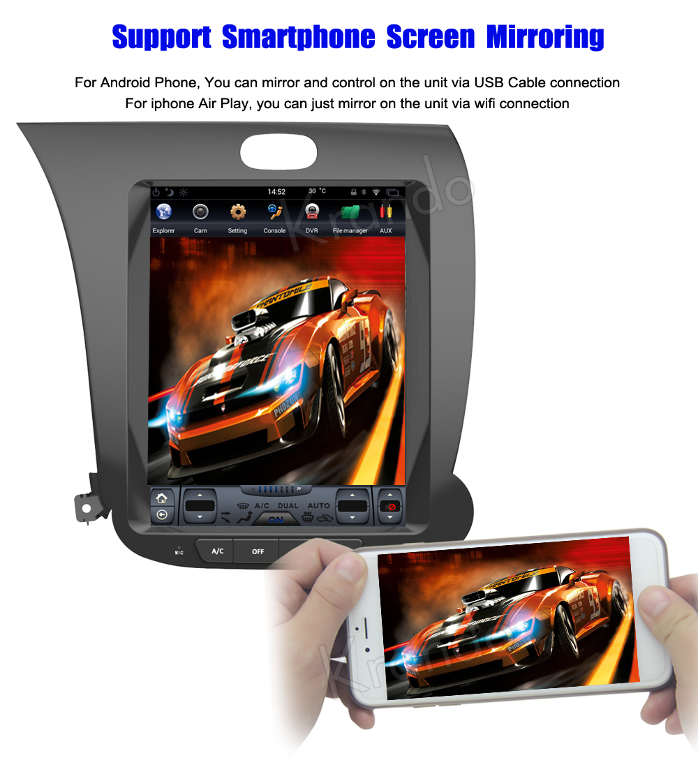 Krando 10.4'' Vertical screen android car radio multimedia for kia k3 big screen navigation with gps system (7)