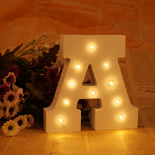 White Wooden LED A Letter Lights Sign Alphabet Night Lights Indoor Wall Desk Decor Craft For Wedding Birthday Party