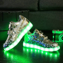 2017 New Hot sale children sneakers USB charging kids LED luminous shoes boys girls of colorful flashing lights sneakers(China)
