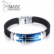 SIZZZ 20cm Long 10mm Wide Fashion personality cross Bracelet&Bangles blue stainless steel silicone Bracelet&Bangles for men(China)