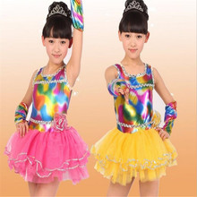 Free Shipping New Arrival Fashion Fiber Optic Fabric Ballet Costume Modern Dance Dress Party Rainbow Tutu Toddlers Tutus Rainbow(China)