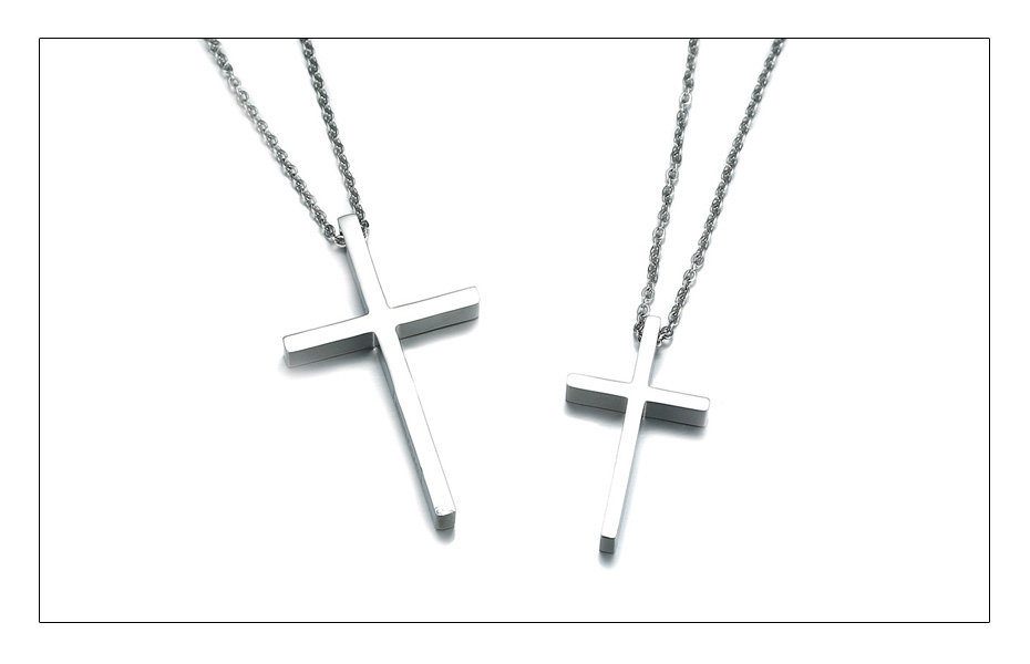 Meaeguet Immanuel Lover Cross Pendant Jesus Necklaces For Women Men Couple Silver Color Stainless Steel Religious Jewelry  (3)