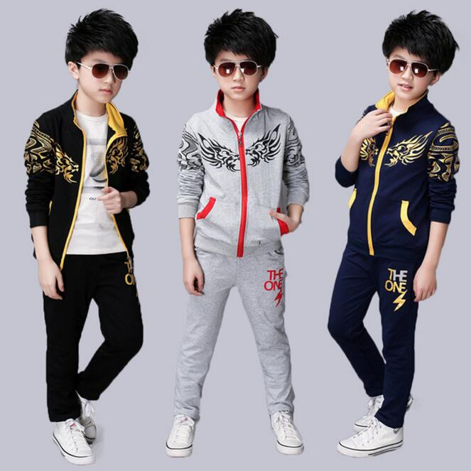 spring 2017 kids teenage boys clothing big boys clothes sets hoodies clothing coat pants outfits children tracksuit set<br><br>Aliexpress
