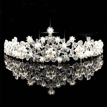Hot Sale Princess Crown Headband Crystal Rhinestone Tiara And Crowns Hair Band Jewelry Silver Bridal Hair Accessories Wedding