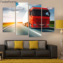 4 piece canvas art canvas painting red truck poster van canvas painting wall picture for living room free shipping XA1726D