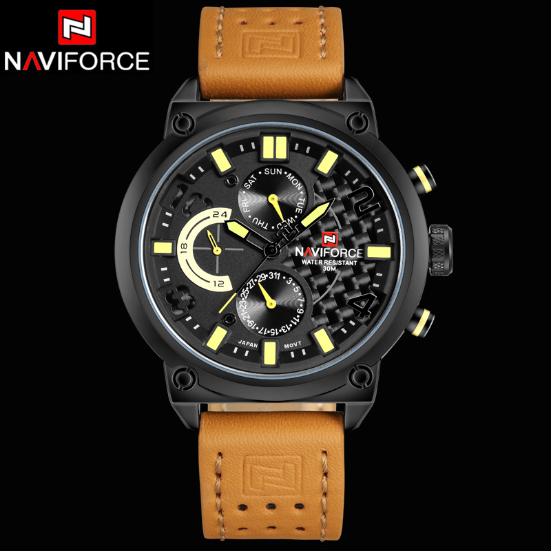 2016 New Luxury Brand Men Leather Watches Mens Quartz 24 Hour Date Clock Male Military Sports Wrist Watch Relogio Masculino<br>
