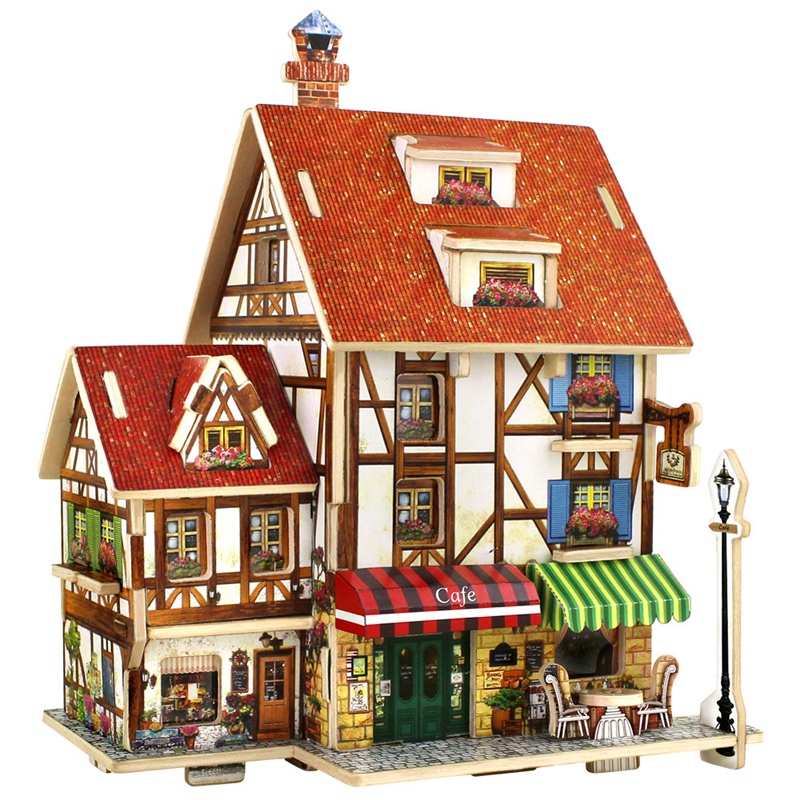 3D Wood Puzzle DIY Model Kids Toy France French Style Coffee House Puzzle Assemblage Toys For Childrens Christmas Gift<br><br>Aliexpress