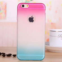 Coque for iPhone 6s Plus Silicone Super Thin Gradual Change Soft TPU Case Cover with Transparent Rainbow Style Phone Back Cover