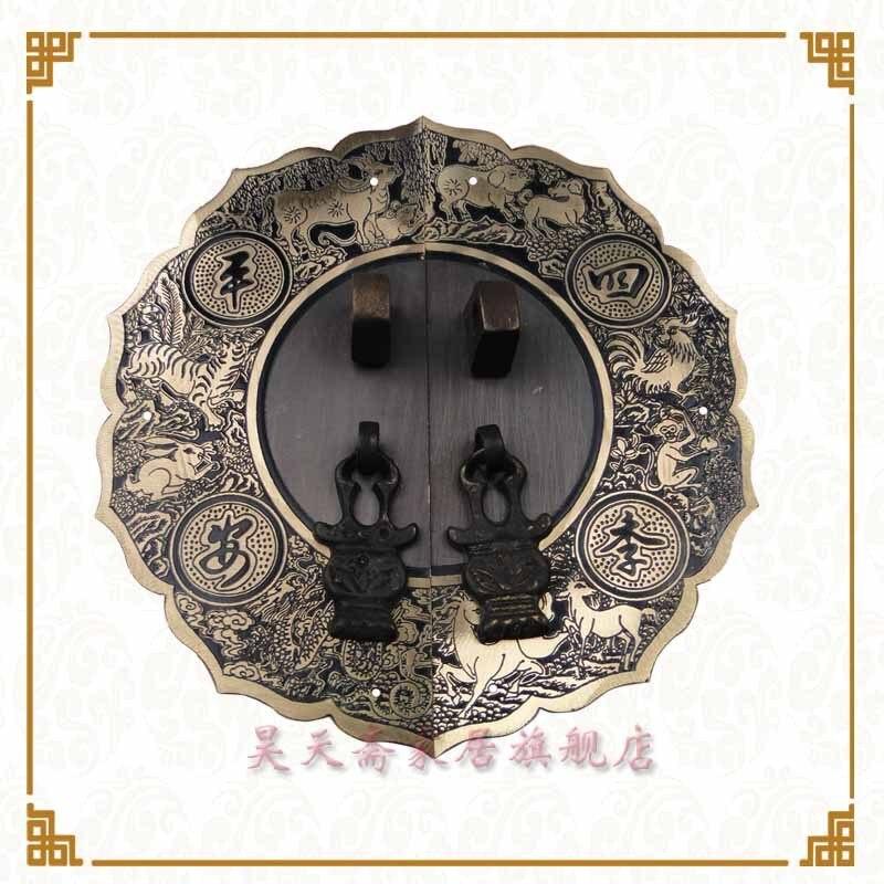 [Haotian vegetarian] Ming bronze copper door handle 14cm Four Seasons peace Zodiac paragraph HTB-125<br>