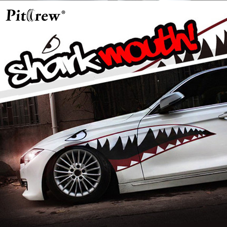 Animals Car Stickers Cool Shark Mouth Lines Car Styling Decals Decorative Personalized For Whole Body Exterior Accessories<br>