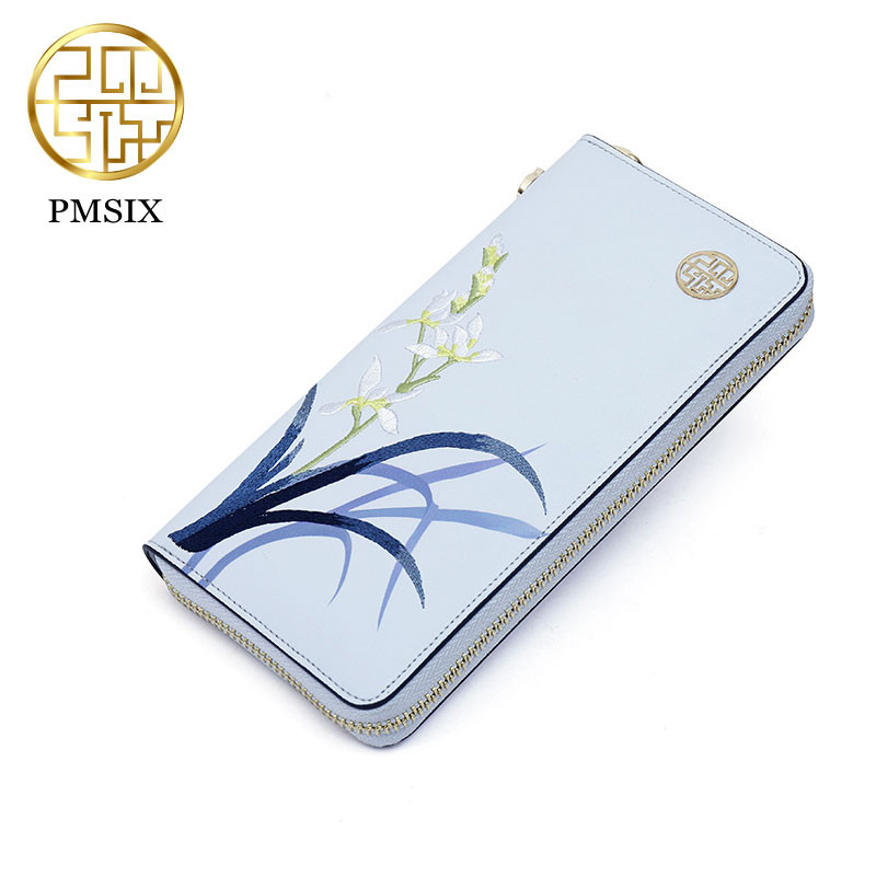 PMSIX 2017 Embroidery Women Wallet Retro Female Purse Split Zipper Wallets Long Design Clutch Femininas Brand Card Holder Gift<br>