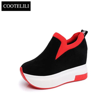 COOTELILI Spring Women Wedges Platforms Faux Suede Loafers Round Toe Inside Heighten Slip-On Pumps Casual Shoes Woman(China)