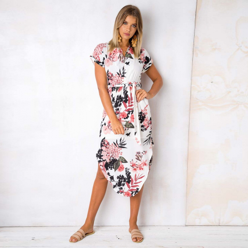 2018 Summer Dress Women Print V Neck Short Sleeve Robe Female Dresses Casual Sashes Midi Dress Ladies Elegant Vestidos Dropship 12