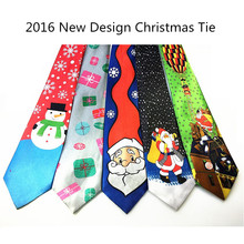 RBOCOTT Blue Printed Christmas Tie 9.5cm Green Tree Novelty Necktie Red Santa Claus Snowflake Neck Tie For Festival Gift
