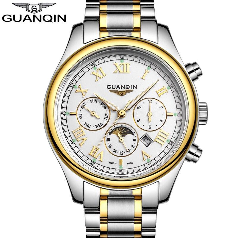 GUANQIN Luxury Brand Men Business Full Steel Quartz Watch Mens Fashion Luminous Clock Waterproof Wristwatch relogio masculino<br>