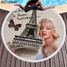 XC USHIO 2018 Vintage Style 150cm Round Beach Towel Eiffel Tower Rose 530g Microfiber Swimming Cover Up Bath Towel Blanket(China)