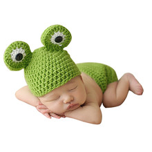 Newborn Photography Props Infant Crochet Frog Baby Caps Hats Costume Fotografia Knitted Green Baby Photography Props