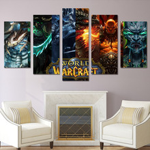 HD 5 piece canvas art Printed world warcraft game painting room decoration Free shipping/gg-306
