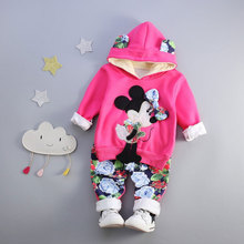 2017 Spring Autumn baby girls clothing outfits casual sports suit for infant baby brand design cartoon print hooded clothes sets
