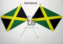 Jamaica flag Banner free shipping Hand waving Flag Jamaica National Flag 14*21 cm(China)