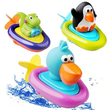 1piece Baby bath toys children play in the water swimming boat essential Clockwork rope toys wheel type dabbling toy(China)