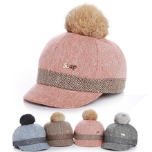 New Thick Velvet Autumn Winter Baby Hat Child Warm Ear Caps Faux Rabbit Fur Pompom Ball Baseball Cap For Boys Girls