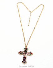 Romantic Style Gold Color Large Colorful Glass Cross Pendant Long Chain Necklace(China)