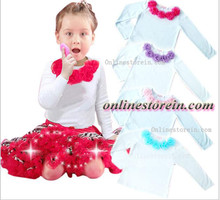 Baby pettitop kids girls cotton t shirt  Kids t shirt girls petti top cotton t shirt longsleeve chiffon flowers